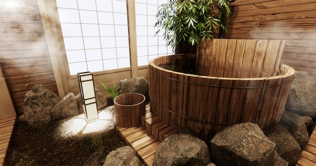Interior do quarto onsen com banheira de madeira e decoração em estilo japonês de madeira