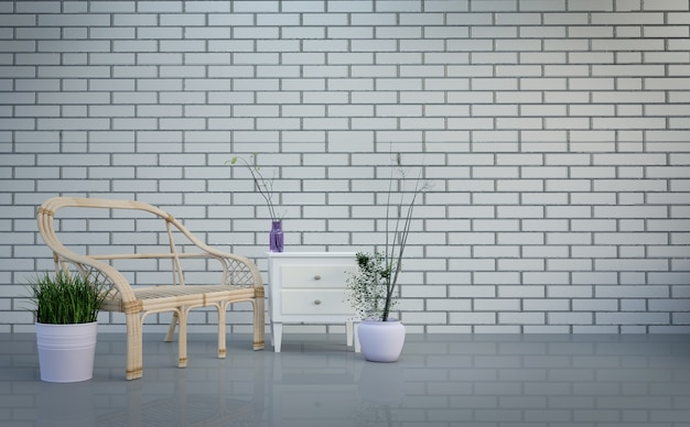 Interior do sotão, sala de estar, mesa e plantas em fundo de parede de tijolos cinza brilhante