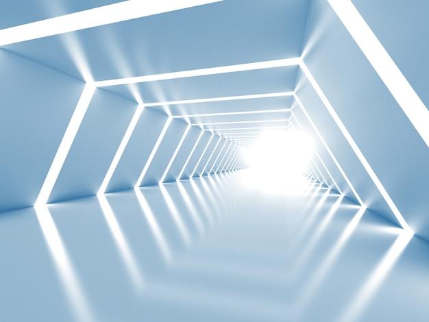 Interior do túnel brilhante abstrato em azul e branco