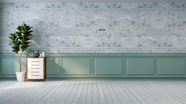 Interior do vintage loft, planta e armário de madeira no piso de madeira e parede de tijolo branco / 3d r