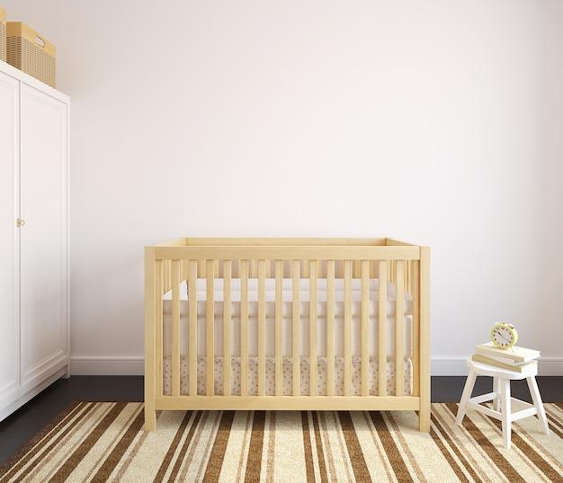 Interior do viveiro com berço de madeira. renderização 3d.
