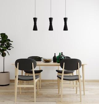 Interior elegante da luminosa sala de estar com mesa e cadeira, com decoração. maquete interior da sala de estar. sala de design moderno com luz do dia. 3d rendem