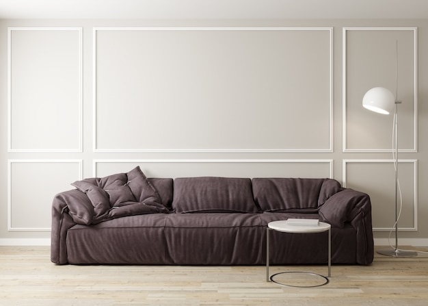 Interior elegante da luminosa sala de estar com sofá e mesa de café com decoração. maquete interior da sala de estar. sala de design moderno com luz do dia. 3d rendem