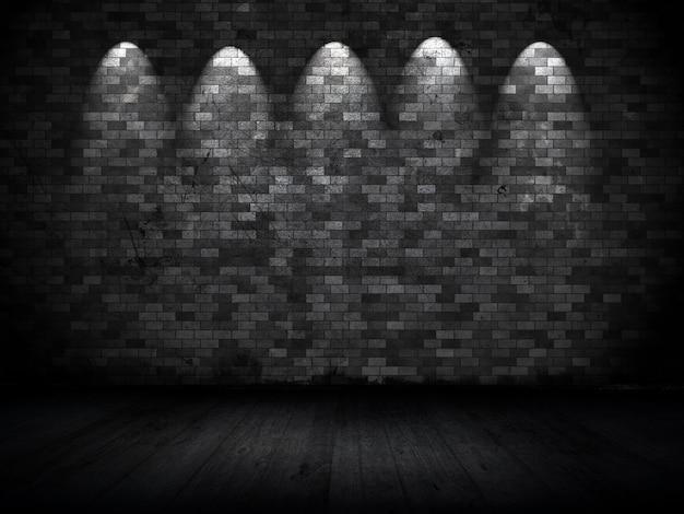 Interior em estilo grunge com holofotes na parede de tijolos antigos
