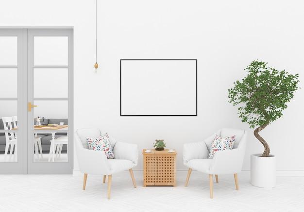 Interior escandinavo com moldura horizontal