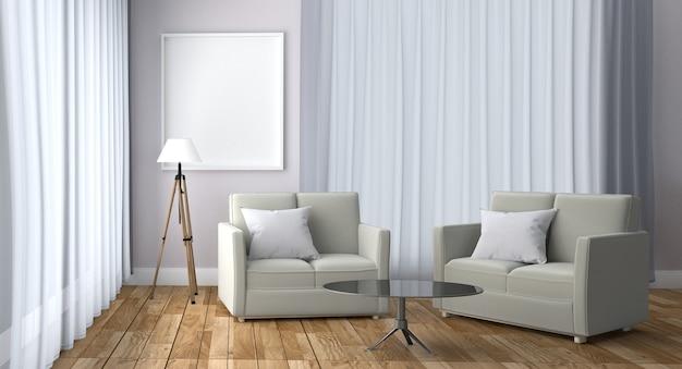Interior escandinavo com o candeeiro de mesa do descanso do sofá e quadro, assoalho de madeira na parede branca.
