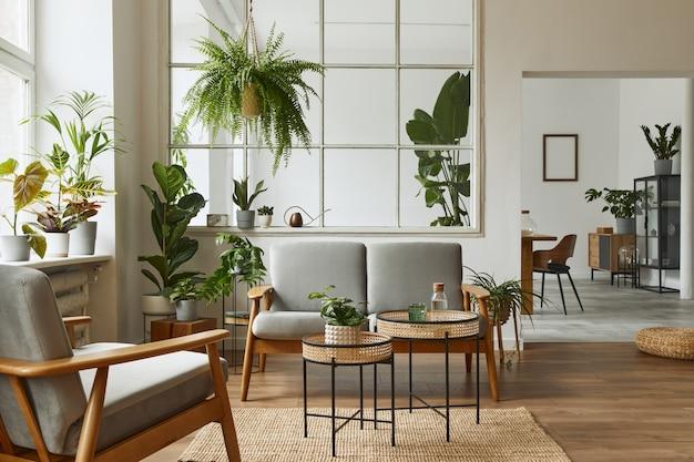Interior escandinavo moderno de sala de estar com sofá cinza design, poltrona, muitas plantas, mesa de centro, carpete e acessórios pessoais em uma decoração aconchegante.