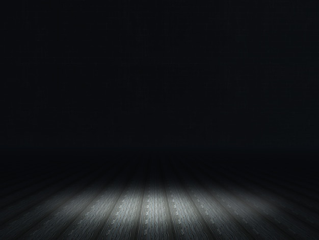 Interior escuro grunge com holofotes brilhando no chão de madeira