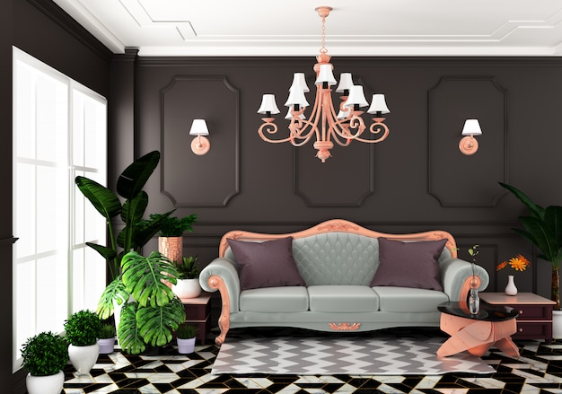 Interior estilo clássico de luxo de vida, parede de decoração marrom em telhas de granito, renderização em 3d
