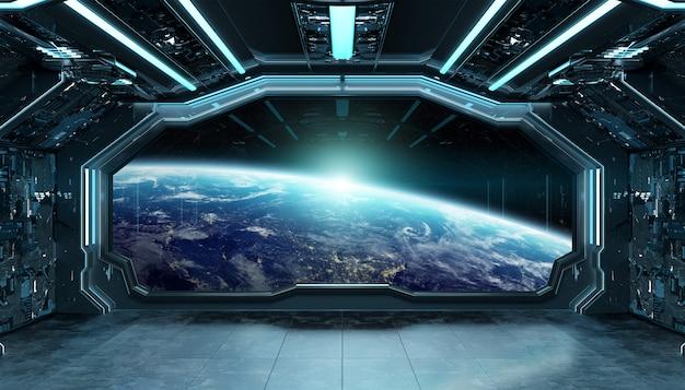 Interior futurista de nave azul escuro com vista para janela na renderização 3d do planeta terra