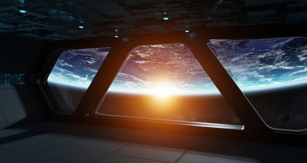 Interior futurista de nave espacial com vista no planeta terra