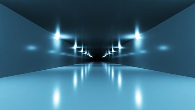 Interior futurista do túnel de ficção científica