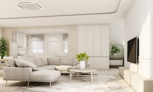 Interior interno em piso de madeira com parede de característica clássica branca em grande sala na casa mínima e janela de claraboia da sala de jantar e cozinha com mobiliário definido em estilo aconchegante renderização em 3d