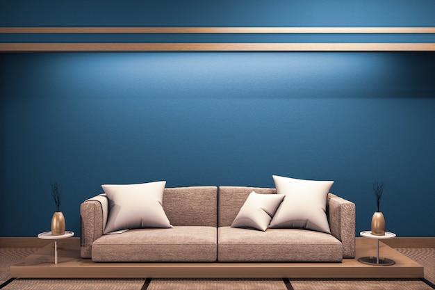 Interior japonês azul escuro moderno da sala com o sofá baixo de madeira no projeto do zen do papel de janela .3d rednering