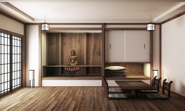 Interior japonês da sala de exposição, revestimento de madeira no fundo branco claro. renderização 3d