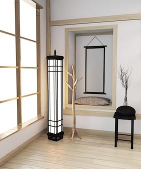 Interior japonês do quarto moderno do zen com ideia de madeira da prateleira da sala japão e assoalho de madeira. renderização em 3d