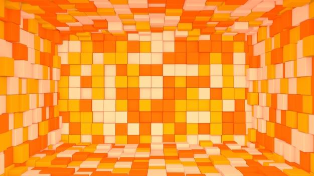 Interior laranja abstrato 3d feito com cubos de fundo
