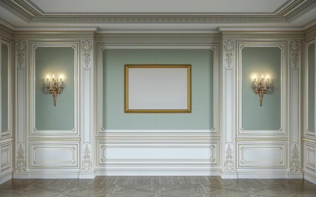 Interior lassic em cores verde-oliva com painéis de parede de madeira, arandelas, moldura e nicho. renderização 3d.