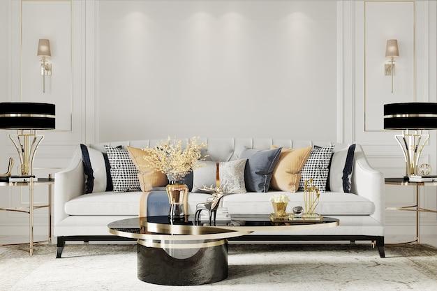 Interior luxuoso da sala de estar com sofá e travesseiros brancos