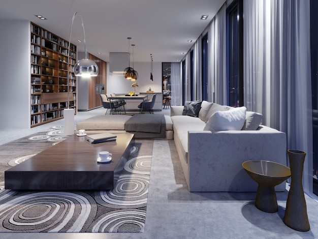 Interior luxuoso do estúdio da sala de estar em design contemporâneo com cozinha e sala de jantar. luz da noite no interior com grandes janelas e vistas da cidade à noite. renderização 3d.