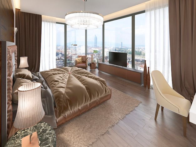 Interior luxuoso do quarto com cama de tecido, cômoda e mesinhas de cabeceira. renderização 3d