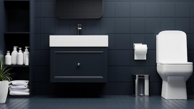 Interior luxuoso e moderno de banheiro com vaso sanitário elegante gabinete e bacia renderização em 3d