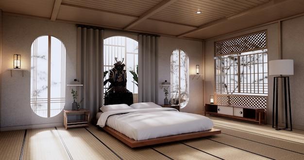 Interior luxuoso quarto moderno em estilo japonês mock up, projetando o mais bonito. renderização 3d