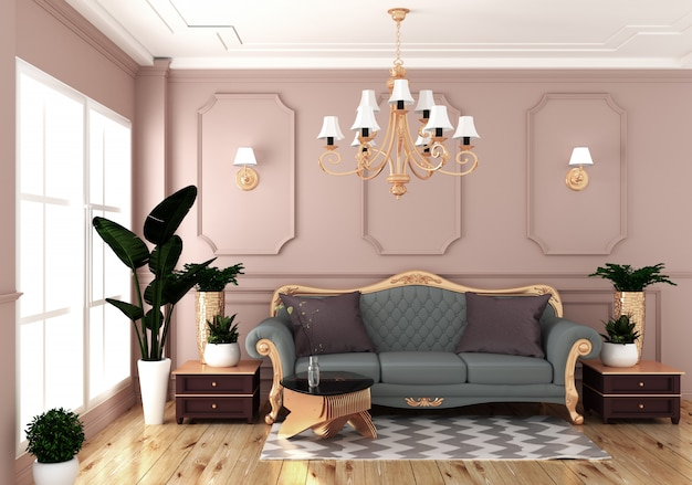 Interior luxuoso vazio da sala com o sofá na parede do rosa da sala no assoalho de madeira. renderização 3d