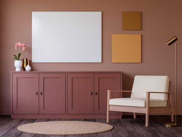 Interior marrom vermelho de estilo mínimo com moldura vazia renderização em 3d