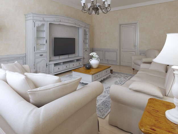 Interior mediterrâneo da sala e móveis macios ao redor da mesa baixa de café.