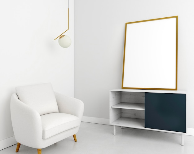Interior minimalista com moldura elegante e poltrona