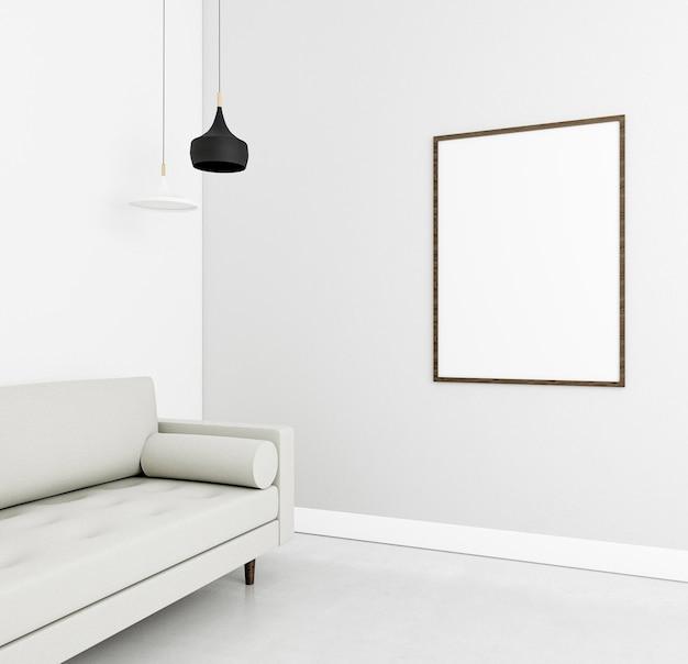 Interior minimalista com moldura elegante e sofá