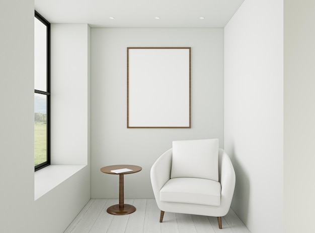Interior minimalista com poltrona elegante