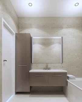 Interior minimalista do banheiro privativo com parede texturizada em gesso, cor cinza oliva e móveis cinza médio