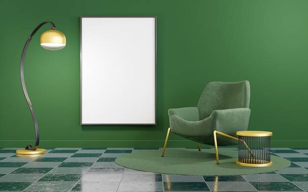 Interior minimalista em verde e dourado com simulação de moldura
