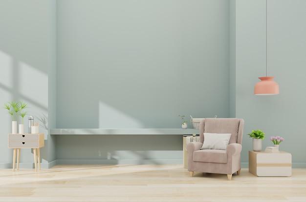Interior minimalista moderno com uma poltrona no fundo da parede azul vazia