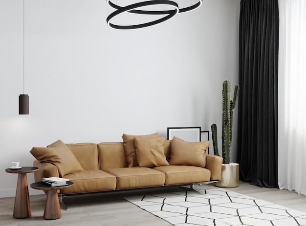 Interior minimalista moderno e branco com sofá, piso de madeira, planta e mesa de centro. 3d rendem a ilustração simulada.