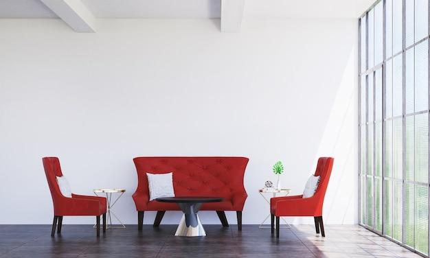 Interior mínimo de sala de estar e decoração de móveis de sofá vermelho e plano de fundo padrão de parede vazia