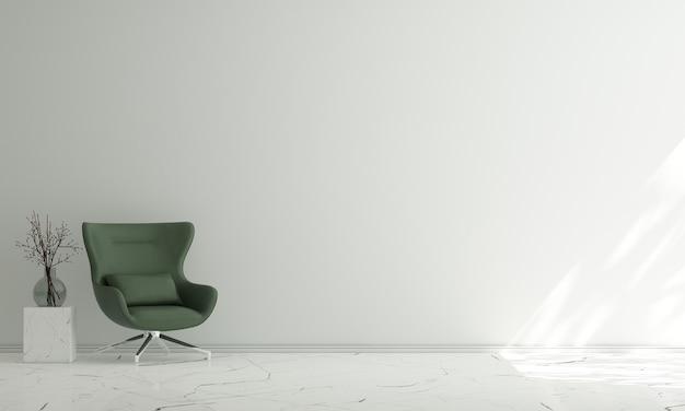 Interior mínimo de sala de estar e fundo de parede branco vazio