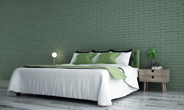 Interior mínimo do quarto e fundo de parede de tijolo verde