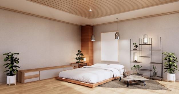 Interior mock up com planta de cama zen e decoartion no quarto japonês. renderização 3d.