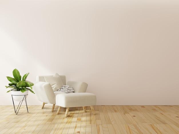 Interior mock up com poltrona de veludo cinza