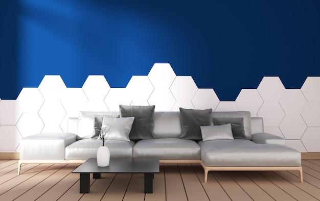 Interior moderna sala de estar com decoração de poltrona e plantas verdes na telha azul hexágono na parede, design minimalista, renderização em 3d