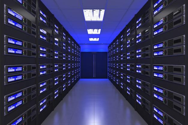 Interior moderno 3d da sala do servidor
