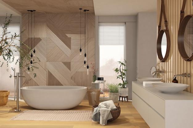 Interior moderno banheiro com painéis de madeira em ecostyle.