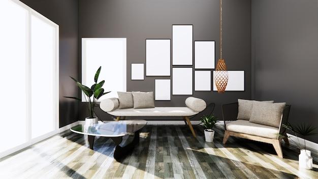 Interior moderno com a cadeira do sofá e do braço em telhas de madeira escuras da parede e do assoalho da sala. renderização 3d