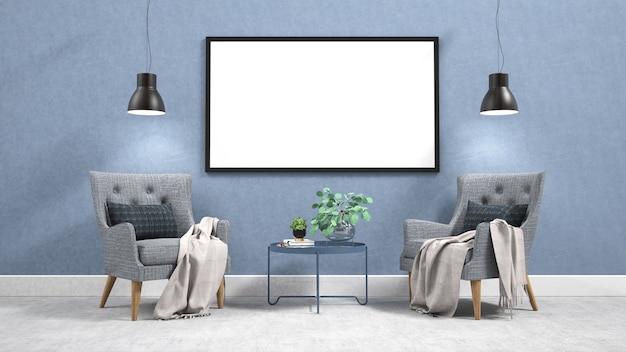 Interior moderno com moldura horizontal vazia