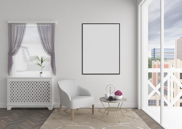 Interior moderno com moldura vertical em branco ou quadro de arte, maquete interior