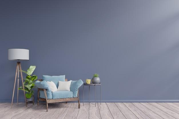 Interior moderno com poltrona e mesa tem parede escura