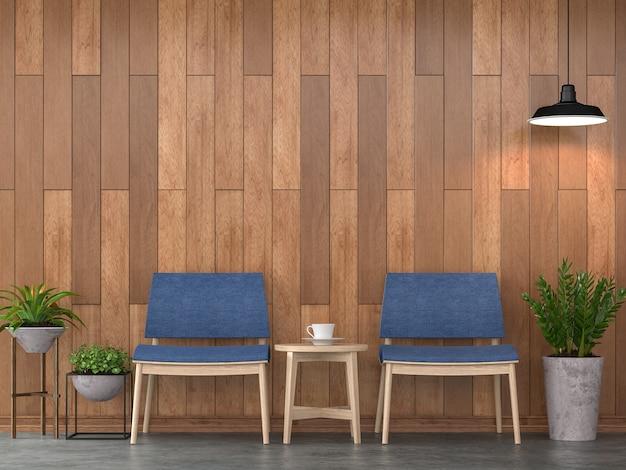 Interior moderno contemporâneo da sala de estar 3d render parede de madeira mobiliada com cadeira de tecido azul